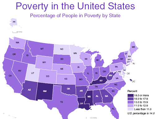 City Mayors Us Cities Lead In Fighting Poverty - Poverty-in-the-us-map
